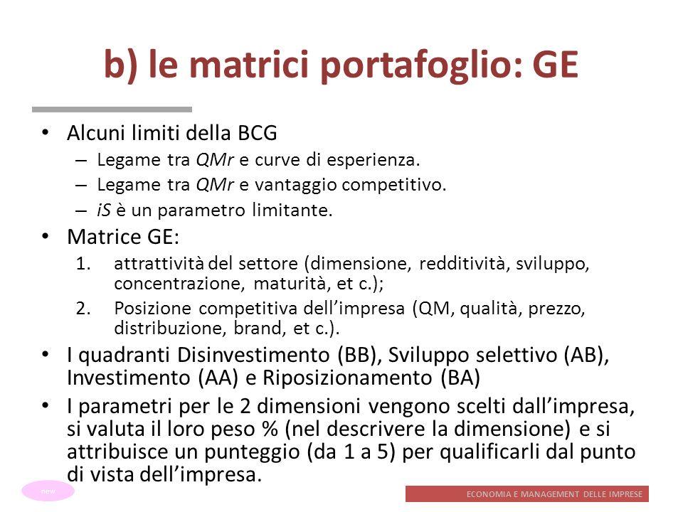 ECONOMIA E MANAGEMENT DELLE IMPRESE b) le matrici portafoglio: GE Alcuni limiti della BCG – Legame tra QMr e curve di esperienza. – Legame tra QMr e v