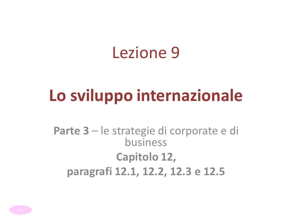 Lezione 9 Lo sviluppo internazionale Parte 3 – le strategie di corporate e di business Capitolo 12, paragrafi 12.1, 12.2, 12.3 e 12.5 new