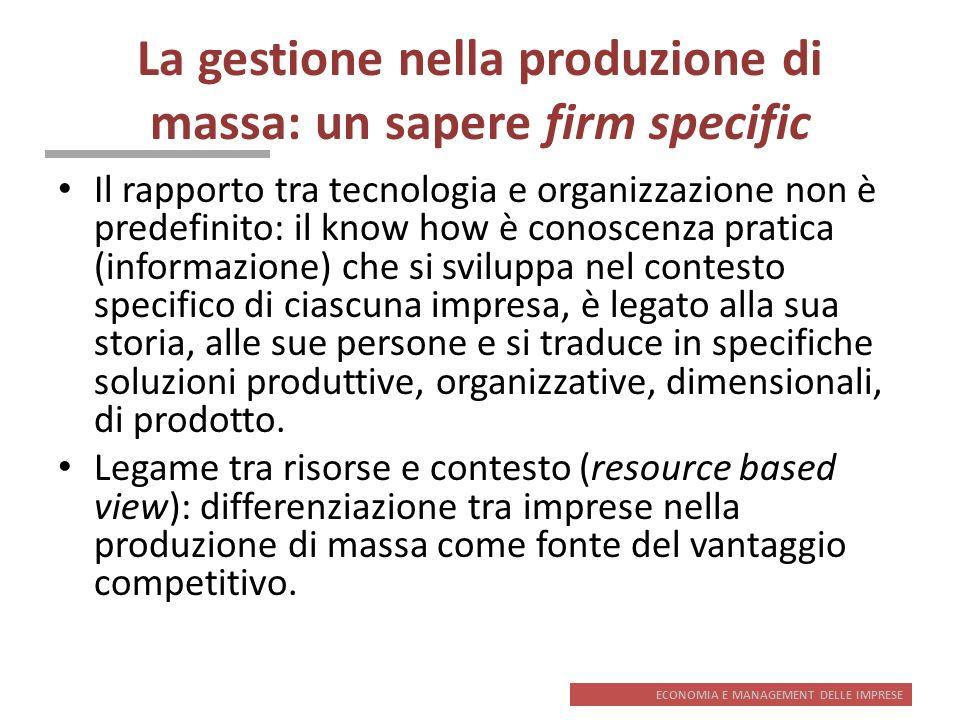 ECONOMIA E MANAGEMENT DELLE IMPRESE La gestione nella produzione di massa: un sapere firm specific Il rapporto tra tecnologia e organizzazione non è p