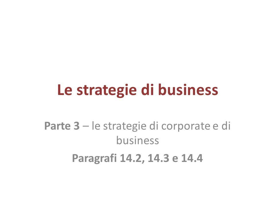 Le strategie di business Parte 3 – le strategie di corporate e di business Paragrafi 14.2, 14.3 e 14.4