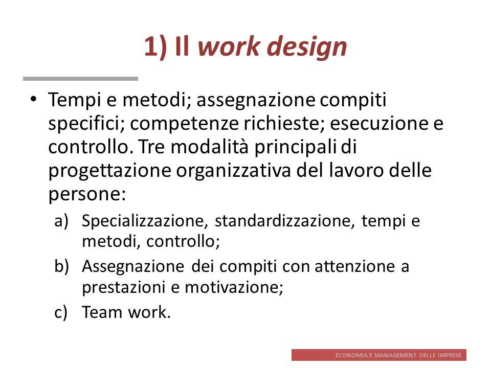 ECONOMIA E MANAGEMENT DELLE IMPRESE 1) Il work design Tempi e metodi; assegnazione compiti specifici; competenze richieste; esecuzione e controllo. Tr