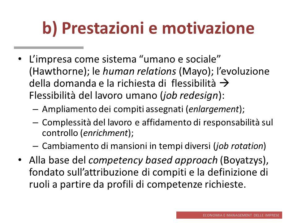 ECONOMIA E MANAGEMENT DELLE IMPRESE b) Prestazioni e motivazione Limpresa come sistema umano e sociale (Hawthorne); le human relations (Mayo); levoluz