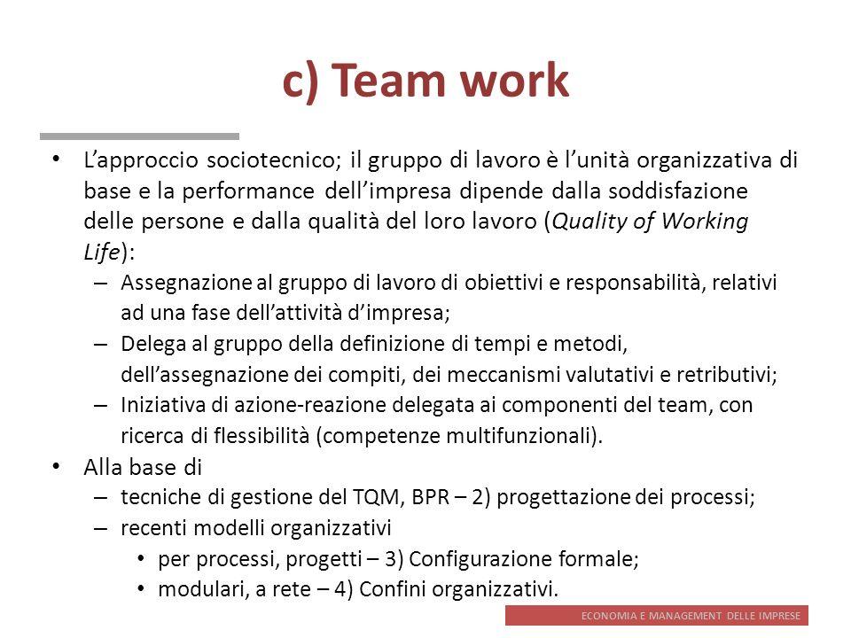 ECONOMIA E MANAGEMENT DELLE IMPRESE c) Team work Lapproccio sociotecnico; il gruppo di lavoro è lunità organizzativa di base e la performance dellimpr