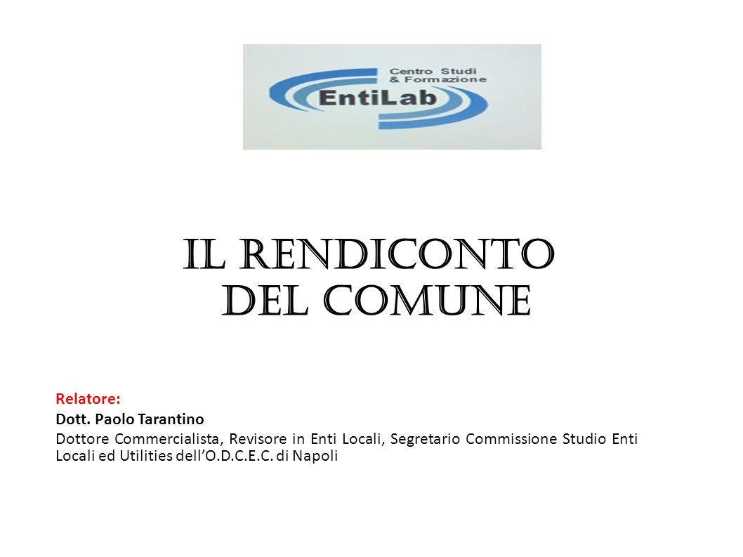 Relatore: Dott. Paolo Tarantino Dottore Commercialista, Revisore in Enti Locali, Segretario Commissione Studio Enti Locali ed Utilities dellO.D.C.E.C.