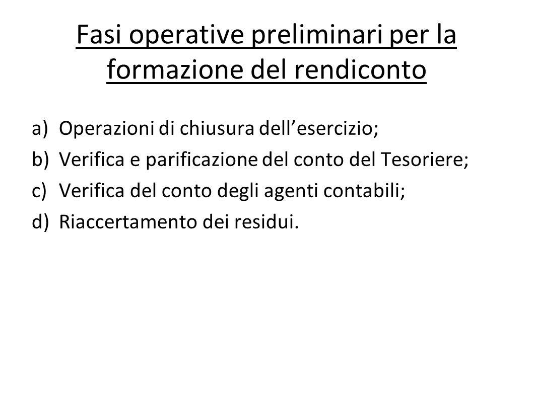 Fasi operative preliminari per la formazione del rendiconto a)Operazioni di chiusura dellesercizio; b)Verifica e parificazione del conto del Tesoriere