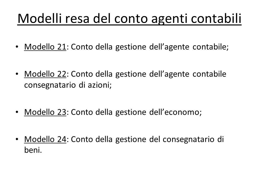 Modelli resa del conto agenti contabili Modello 21: Conto della gestione dellagente contabile; Modello 22: Conto della gestione dellagente contabile c