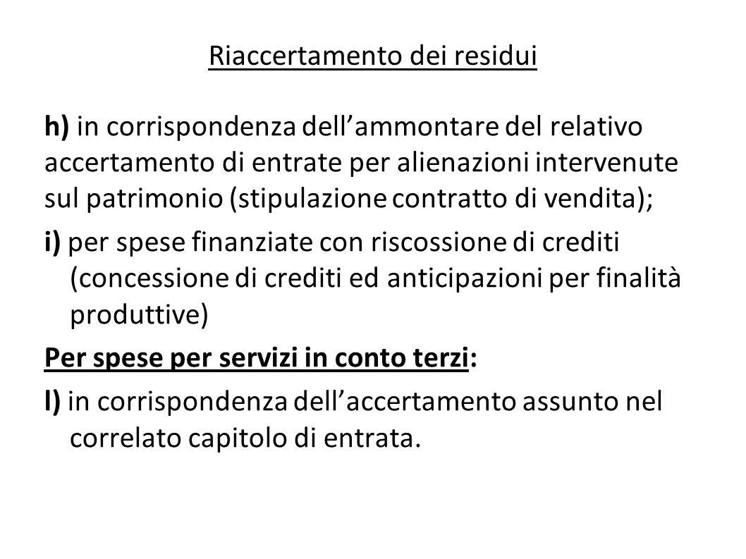 h) in corrispondenza dellammontare del relativo accertamento di entrate per alienazioni intervenute sul patrimonio (stipulazione contratto di vendita)