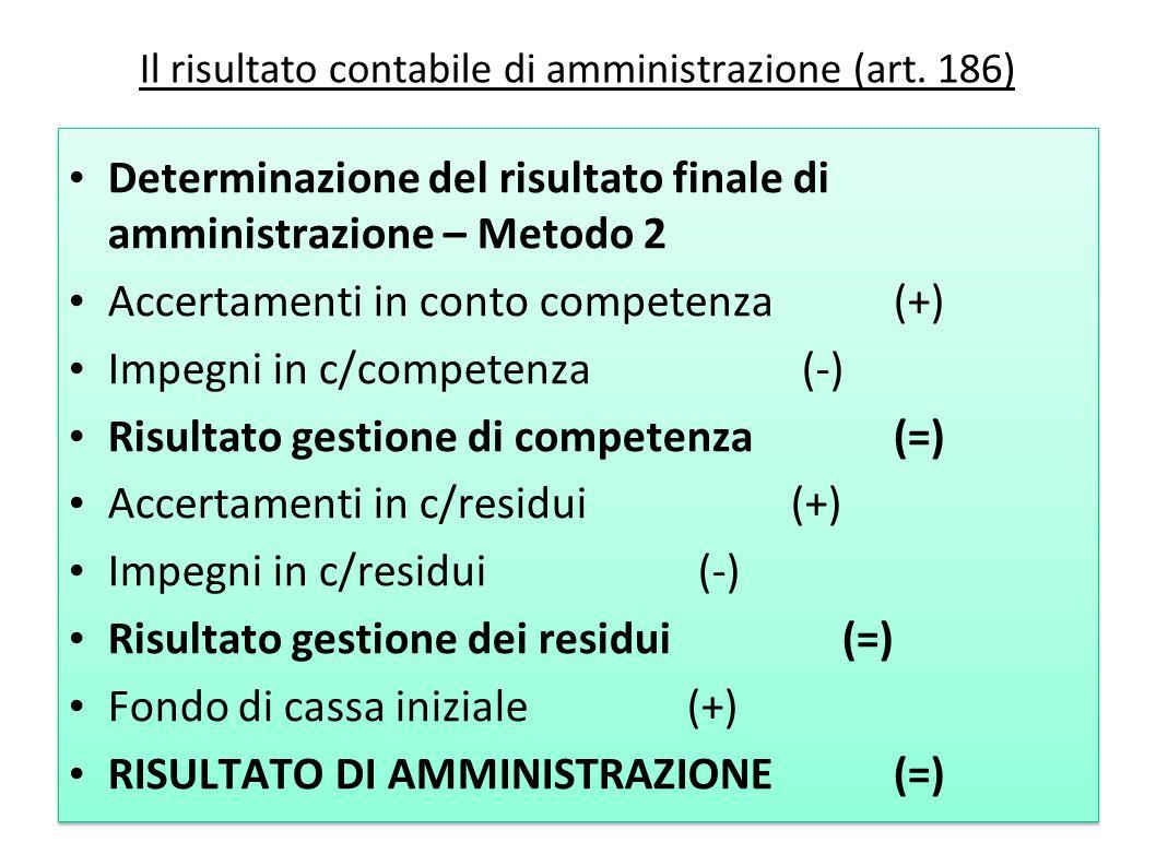 Il risultato contabile di amministrazione (art. 186) Determinazione del risultato finale di amministrazione – Metodo 2 Accertamenti in conto competenz