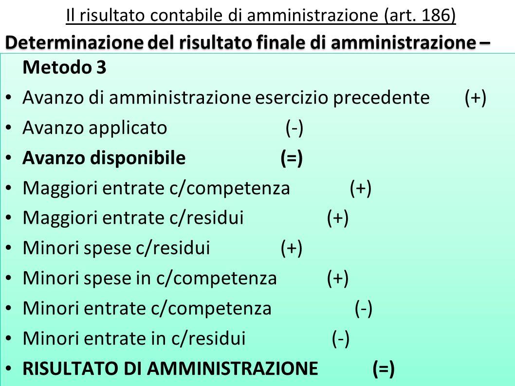 Il risultato contabile di amministrazione (art. 186) Determinazione del risultato finale di amministrazione – Metodo 3 Avanzo di amministrazione eserc