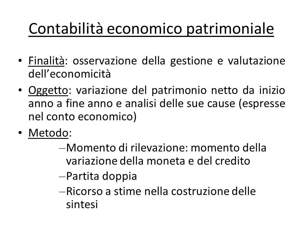 Contabilità economico patrimoniale Finalità: osservazione della gestione e valutazione delleconomicità Oggetto: variazione del patrimonio netto da ini