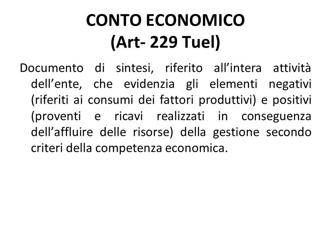 Documento di sintesi, riferito allintera attività dellente, che evidenzia gli elementi negativi (riferiti ai consumi dei fattori produttivi) e positiv