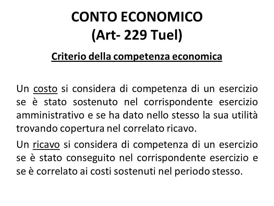 Criterio della competenza economica Un costo si considera di competenza di un esercizio se è stato sostenuto nel corrispondente esercizio amministrati