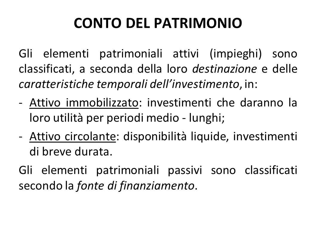 CONTO DEL PATRIMONIO Gli elementi patrimoniali attivi (impieghi) sono classificati, a seconda della loro destinazione e delle caratteristiche temporal