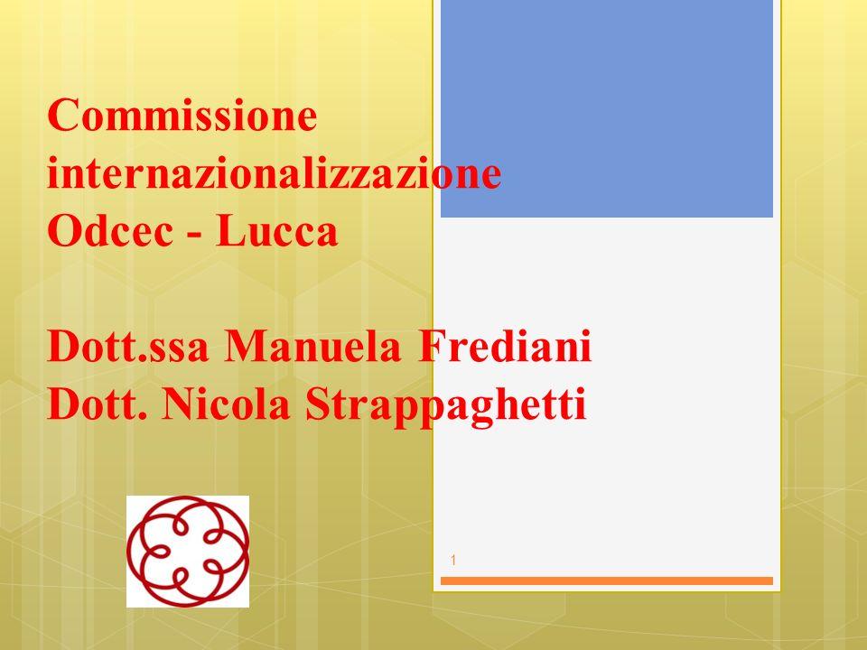 Commissione internazionalizzazione Odcec - Lucca Dott.ssa Manuela Frediani Dott. Nicola Strappaghetti 1