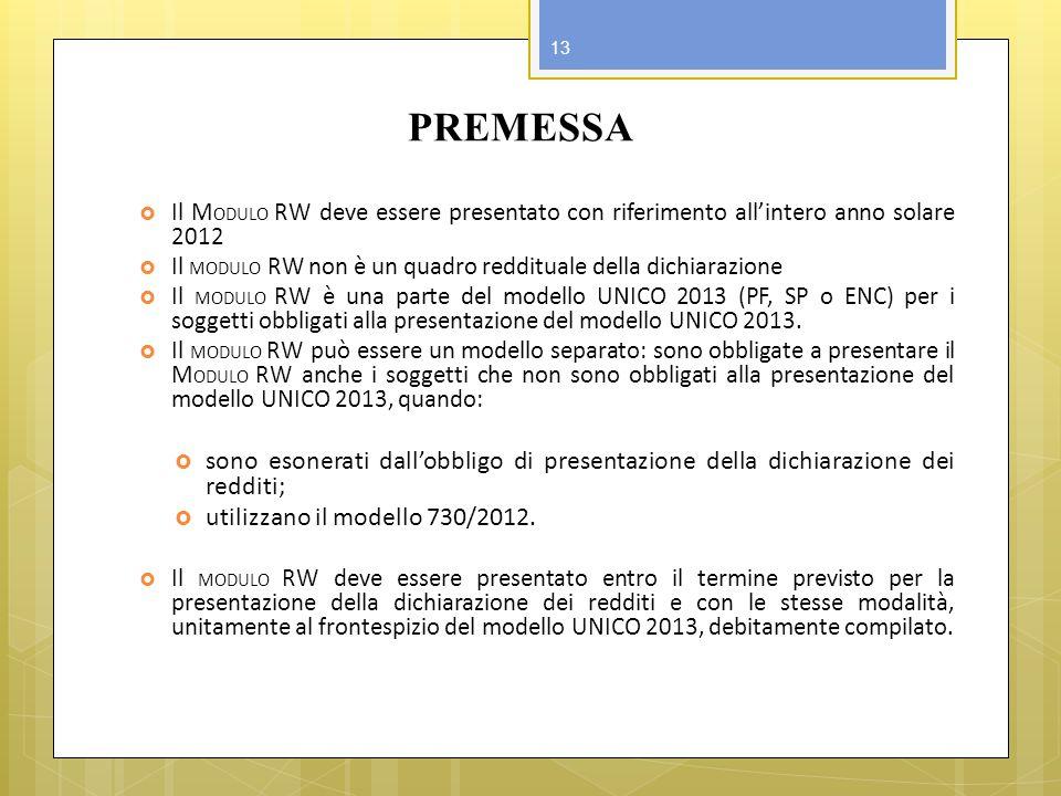 PREMESSA Il M ODULO RW deve essere presentato con riferimento allintero anno solare 2012 Il MODULO RW non è un quadro reddituale della dichiarazione I
