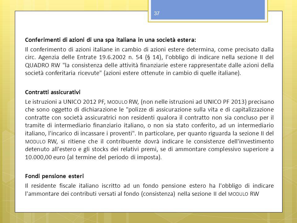 Conferimenti di azioni di una spa italiana in una società estera: Il conferimento di azioni italiane in cambio di azioni estere determina, come precis
