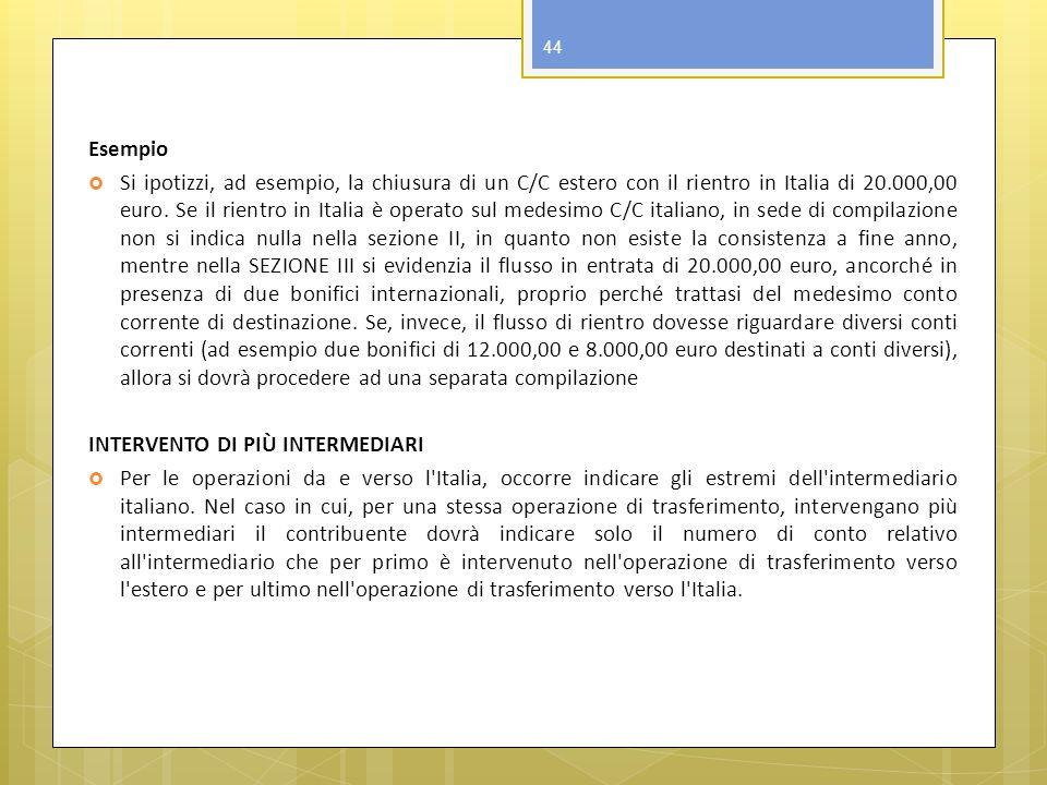 Esempio Si ipotizzi, ad esempio, la chiusura di un C/C estero con il rientro in Italia di 20.000,00 euro. Se il rientro in Italia è operato sul medesi