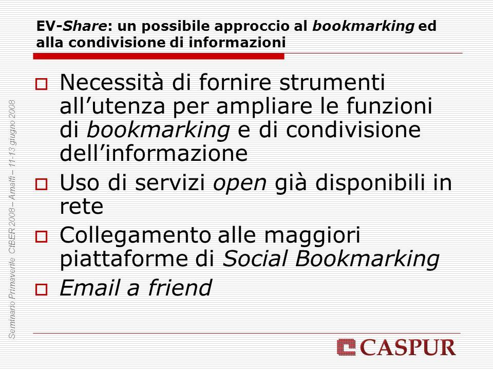 EV-Share: un possibile approccio al bookmarking ed alla condivisione di informazioni Necessità di fornire strumenti allutenza per ampliare le funzioni di bookmarking e di condivisione dellinformazione Uso di servizi open già disponibili in rete Collegamento alle maggiori piattaforme di Social Bookmarking Email a friend Seminario Primaverile CIBER 2008 – Amalfi – 11-13 giugno 2008
