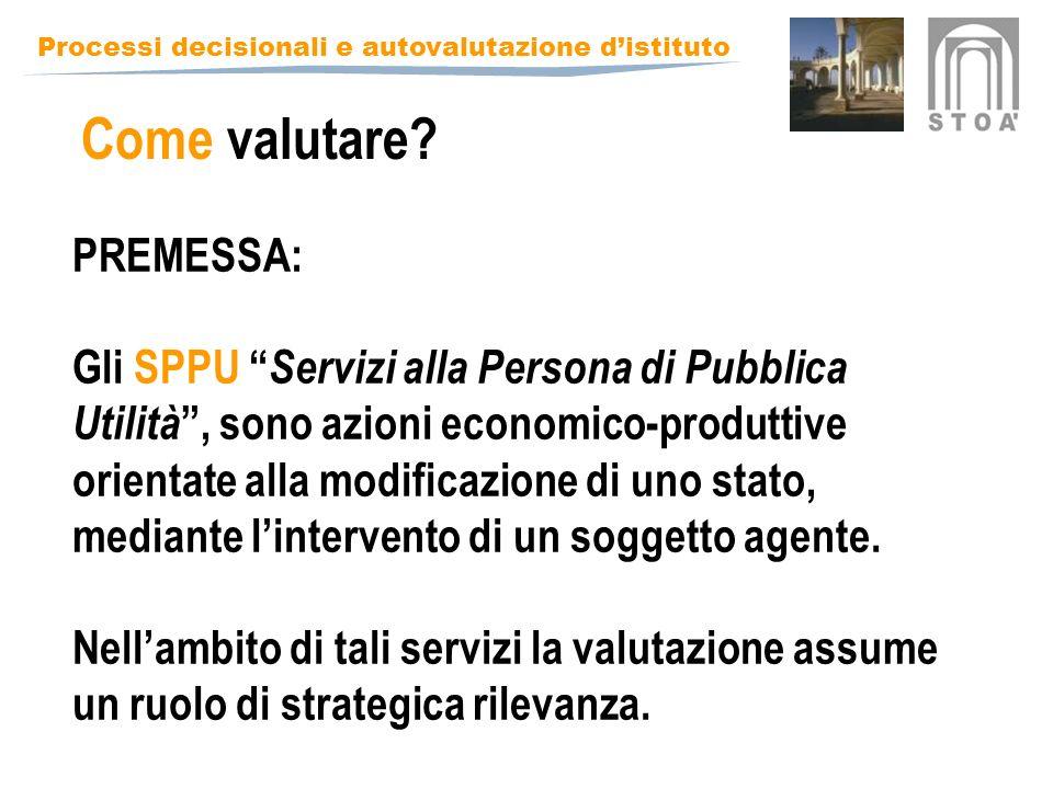 Processi decisionali e autovalutazione distituto PREMESSA: Gli SPPU Servizi alla Persona di Pubblica Utilità, sono azioni economico-produttive orientate alla modificazione di uno stato, mediante lintervento di un soggetto agente.
