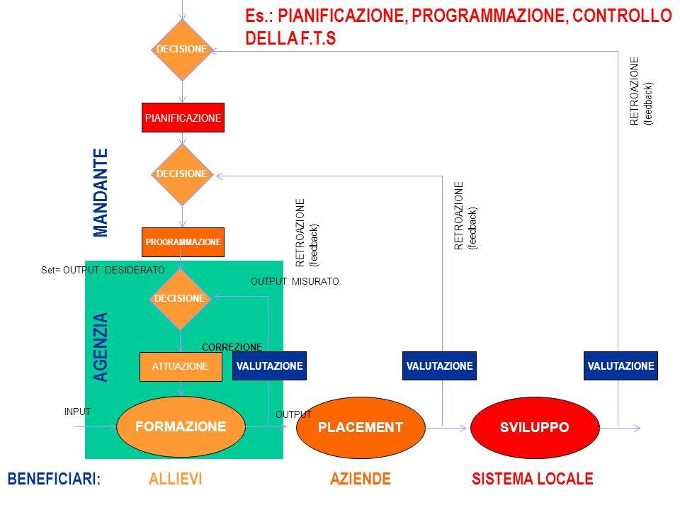 Processi decisionali e autovalutazione distituto MANDANTE Es.: PIANIFICAZIONE, PROGRAMMAZIONE, CONTROLLO DELLA F.T.S PLACEMENT DECISIONE PROGRAMMAZIONE VALUTAZIONE AZIENDE RETROAZIONE (feedback) SVILUPPO DECISIONE PIANIFICAZIONE VALUTAZIONE SISTEMA LOCALE RETROAZIONE (feedback) FORMAZIONE DECISIONE ATTUAZIONE VALUTAZIONE AGENZIA BENEFICIARI:ALLIEVI INPUT OUTPUT Set= OUTPUT DESIDERATO OUTPUT MISURATO CORREZIONE RETROAZIONE (feedback)