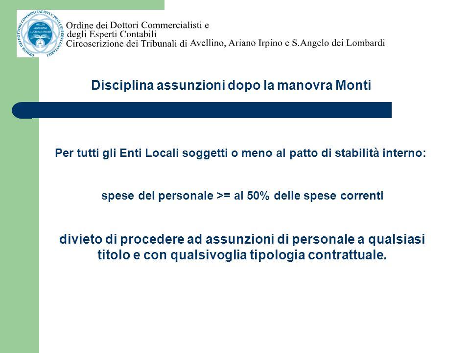 Disciplina assunzioni dopo la manovra Monti SPESE DEL PERSONALE: Criterio di competenza e non di cassa (Corte dei Conti, sezioni riunite, parere n.