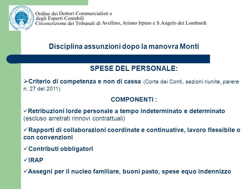 Disciplina assunzioni dopo la manovra Monti Voci incluse spese del personale art.