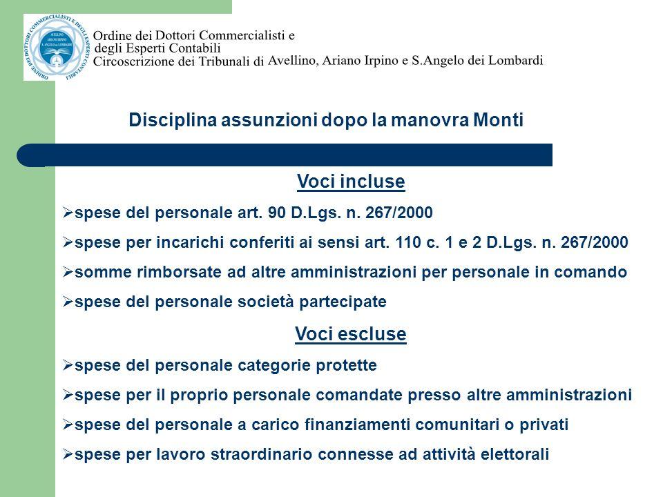 Disciplina assunzioni dopo la manovra Monti ENTI LOCALI NON SOGGETTI AL PATTO DI STABILITA Rispetto delle condizioni previste dallart.