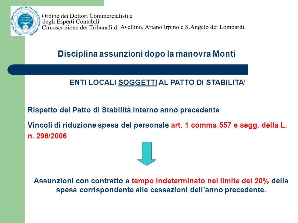 Disciplina assunzioni dopo la manovra Monti ENTI LOCALI SOGGETTI E NON SOGGETTI AL PATTO DI STABILITA Assunzioni di lavoro flessibile In base allart.
