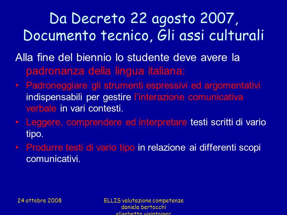 Da Decreto 22 agosto 2007, Documento tecnico, Gli assi culturali Alla fine del biennio lo studente deve avere la padronanza della lingua italiana: Pad