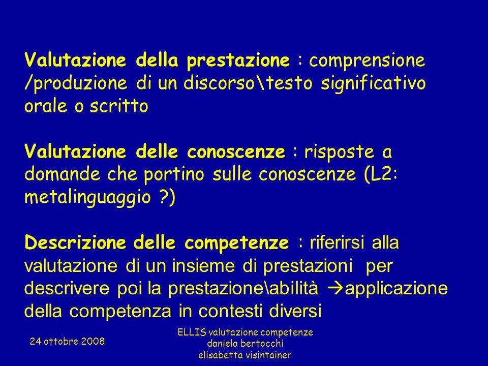 Valutazione della prestazione Valutazione della prestazione : comprensione /produzione di un discorso\testo significativo orale o scritto Valutazione