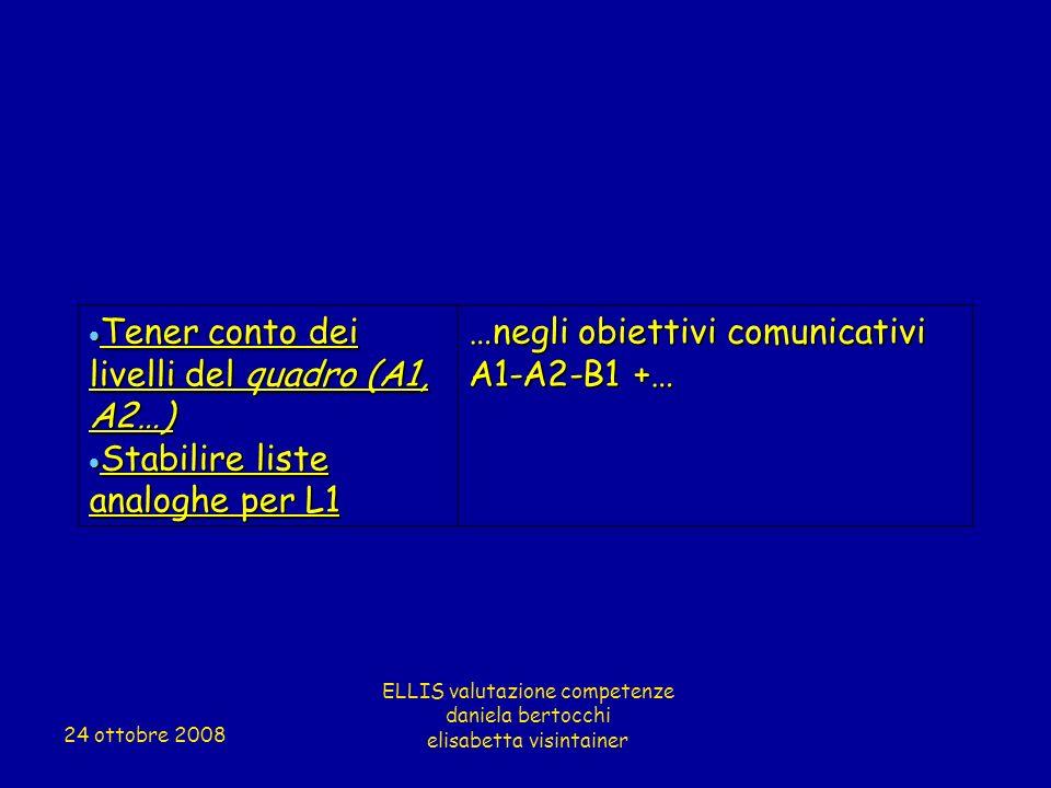 Tener conto dei livelli del quadro (A1, A2…) Tener conto dei livelli del quadro (A1, A2…) Stabilire liste analoghe per L1 Stabilire liste analoghe per