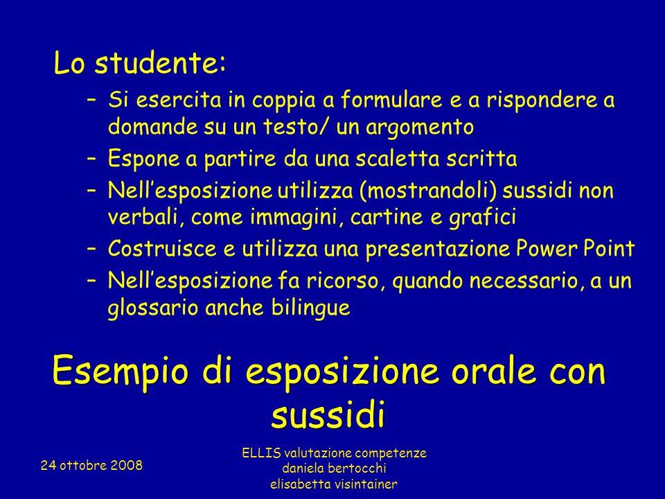 Esempio di esposizione orale con sussidi Lo studente: –Si esercita in coppia a formulare e a rispondere a domande su un testo/ un argomento –Espone a
