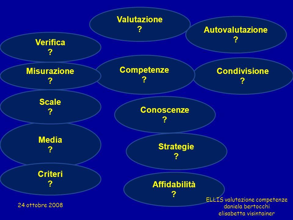 Media ? Strategie ? Scale ? Condivisione ? Competenze ? Conoscenze ? Verifica ? Criteri ? Autovalutazione ? Affidabilità ? Misurazione ? Valutazione ?