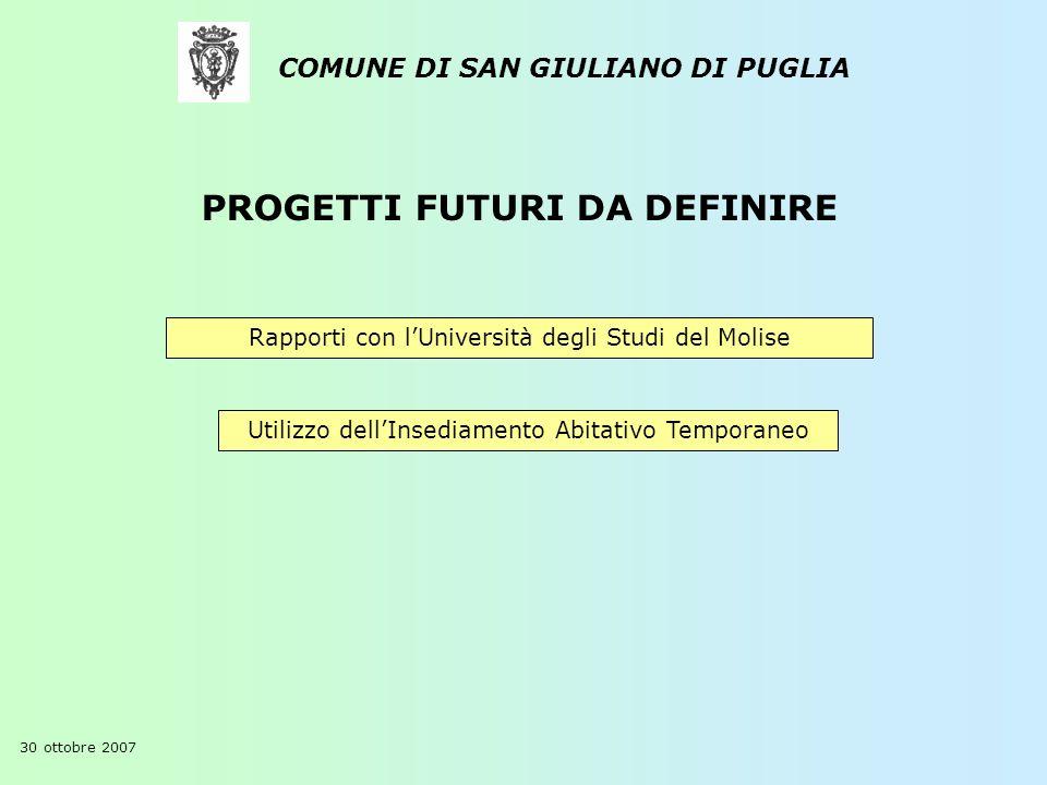 COMUNE DI SAN GIULIANO DI PUGLIA 30 ottobre 2007 Rapporti con lUniversità degli Studi del Molise Utilizzo dellInsediamento Abitativo Temporaneo PROGET