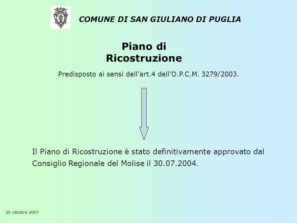 Piano di Ricostruzione COMUNE DI SAN GIULIANO DI PUGLIA Il Piano di Ricostruzione è stato definitivamente approvato dal Consiglio Regionale del Molise il 30.07.2004.