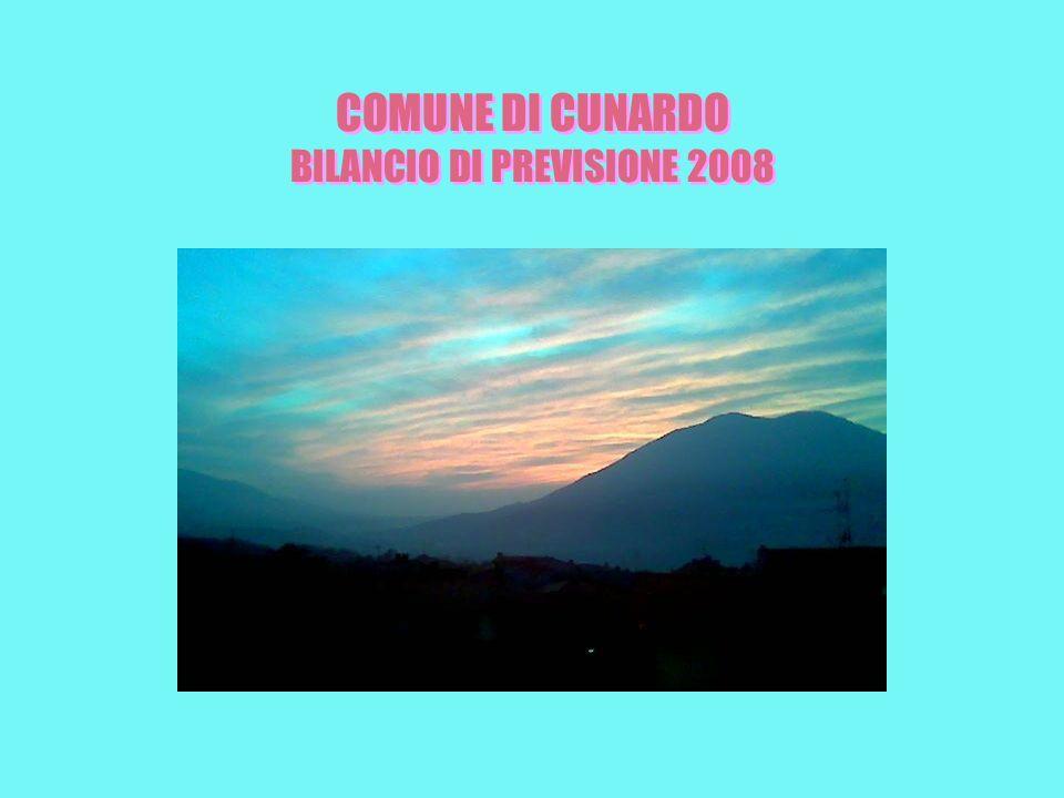 COMUNE DI CUNARDO BILANCIO DI PREVISIONE 2008