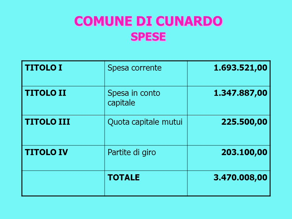 COMUNE DI CUNARDO suddivisione in percentuale delle spese
