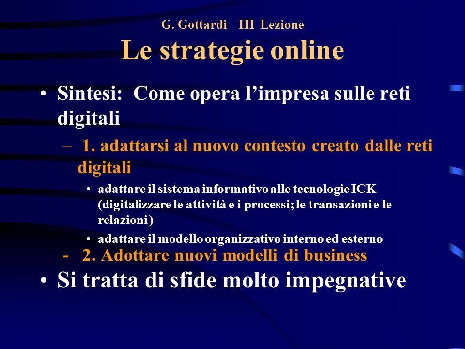 G. Gottardi III Lezione Le strategie online Sintesi: Come opera limpresa sulle reti digitali – 1. adattarsi al nuovo contesto creato dalle reti digita
