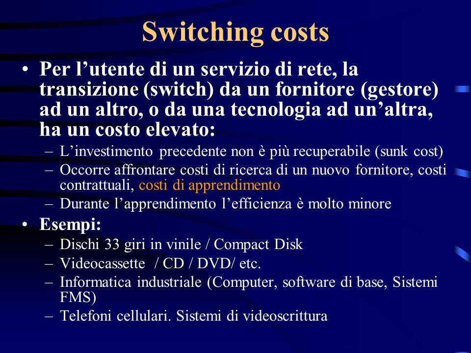 Switching costs Per lutente di un servizio di rete, la transizione (switch) da un fornitore (gestore) ad un altro, o da una tecnologia ad unaltra, ha
