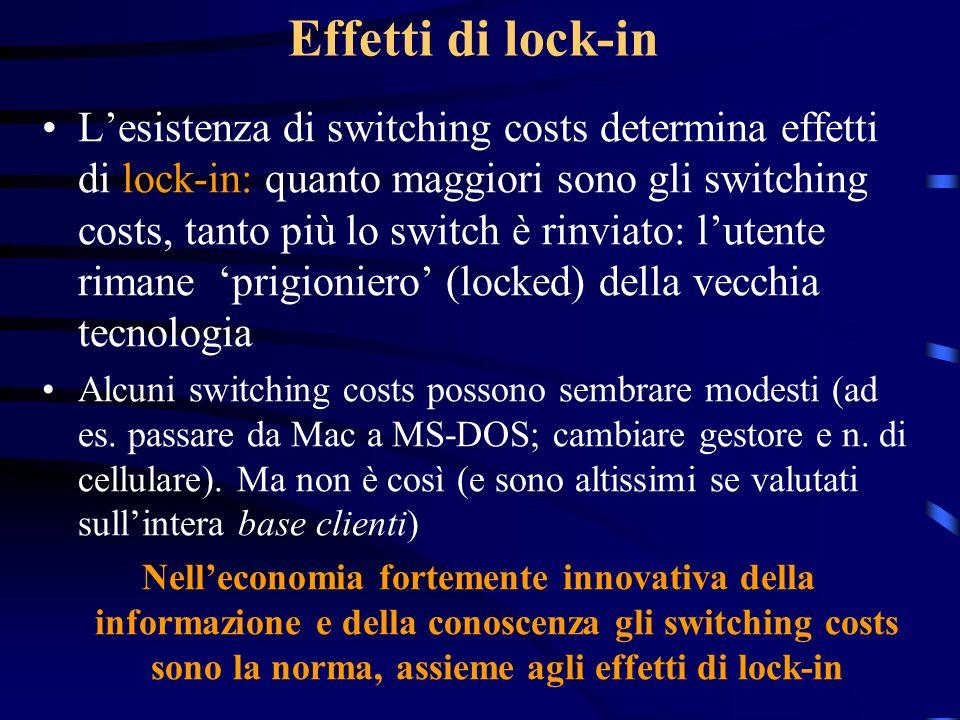 Effetti di lock-in Lesistenza di switching costs determina effetti di lock-in: quanto maggiori sono gli switching costs, tanto più lo switch è rinviat