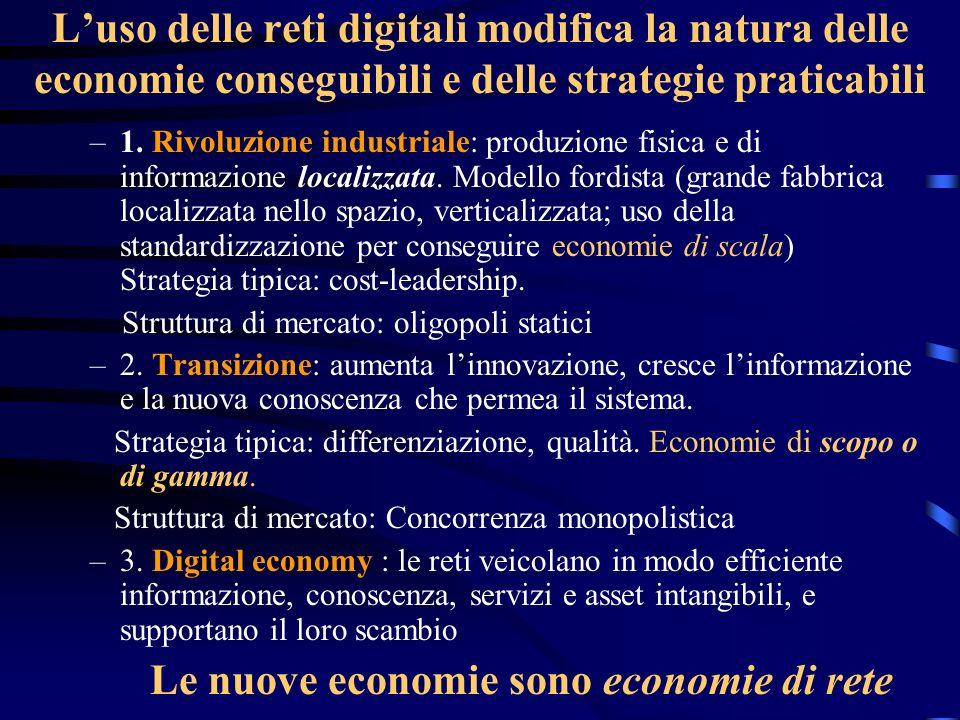 Luso delle reti digitali modifica la natura delle economie conseguibili e delle strategie praticabili –1. Rivoluzione industriale: produzione fisica e