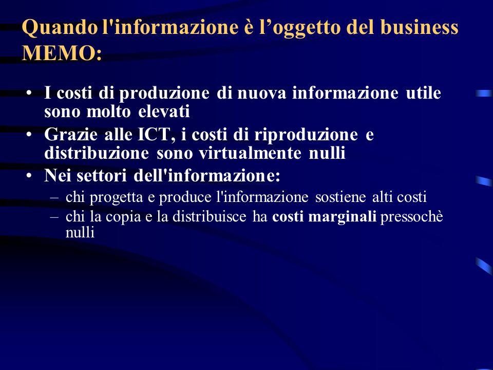 Quando l'informazione è loggetto del business MEMO: I costi di produzione di nuova informazione utile sono molto elevati Grazie alle ICT, i costi di r