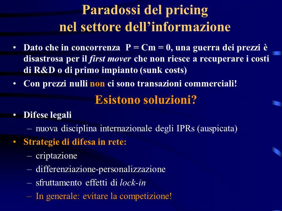 Paradossi del pricing nel settore dellinformazione Dato che in concorrenza P = Cm = 0, una guerra dei prezzi è disastrosa per il first mover che non r