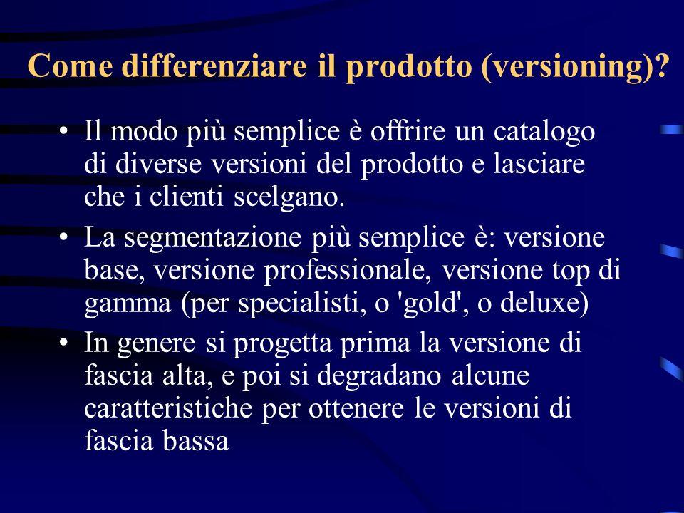 Come differenziare il prodotto (versioning)? Il modo più semplice è offrire un catalogo di diverse versioni del prodotto e lasciare che i clienti scel
