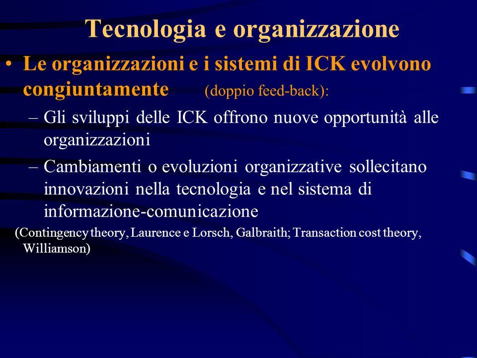 Tecnologia e organizzazione Le organizzazioni e i sistemi di ICK evolvono congiuntamente (doppio feed-back): –Gli sviluppi delle ICK offrono nuove opp