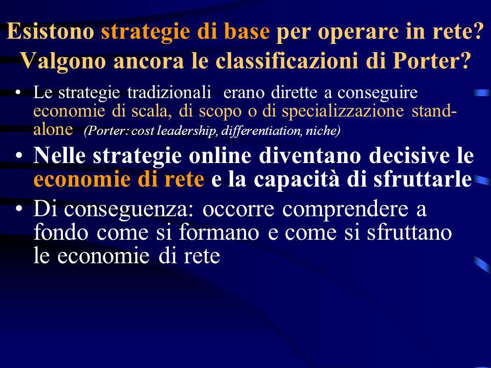 Esistono strategie di base per operare in rete? Valgono ancora le classificazioni di Porter? Le strategie tradizionali erano dirette a conseguire econ