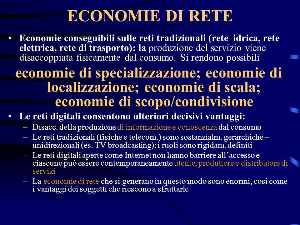 ECONOMIE DI RETE Economie conseguibili sulle reti tradizionali (rete idrica, rete elettrica, rete di trasporto): la produzione del servizio viene disa
