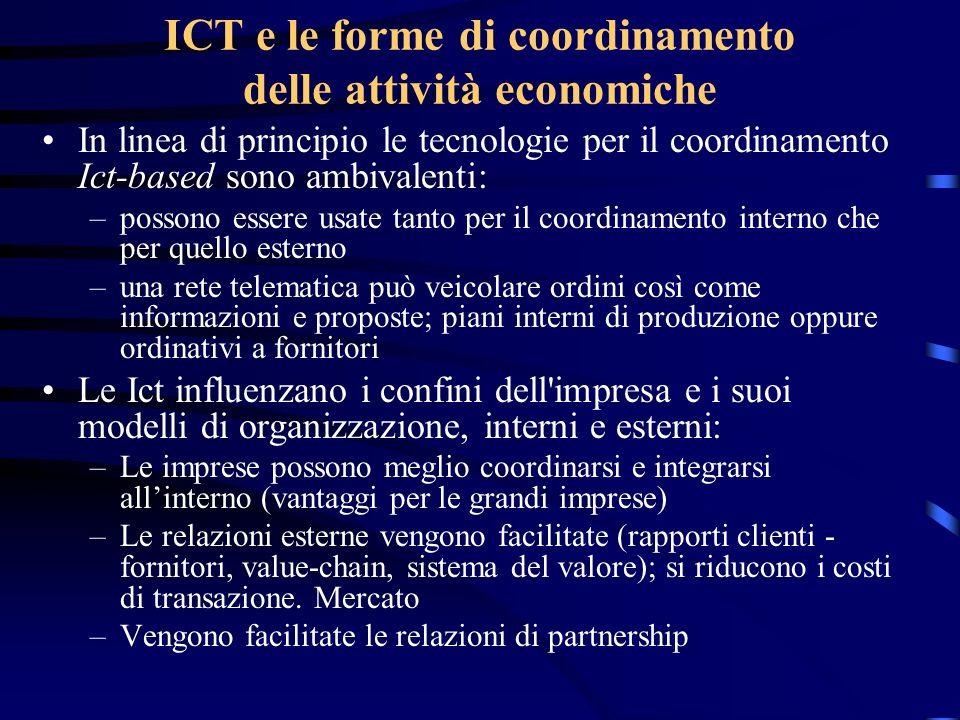 ICT e le forme di coordinamento delle attività economiche In linea di principio le tecnologie per il coordinamento Ict-based sono ambivalenti: –posson