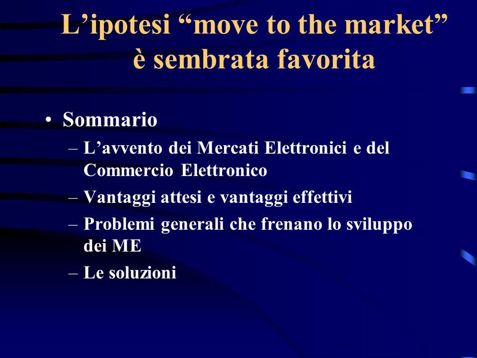 Lipotesi move to the market è sembrata favorita Sommario –Lavvento dei Mercati Elettronici e del Commercio Elettronico –Vantaggi attesi e vantaggi eff