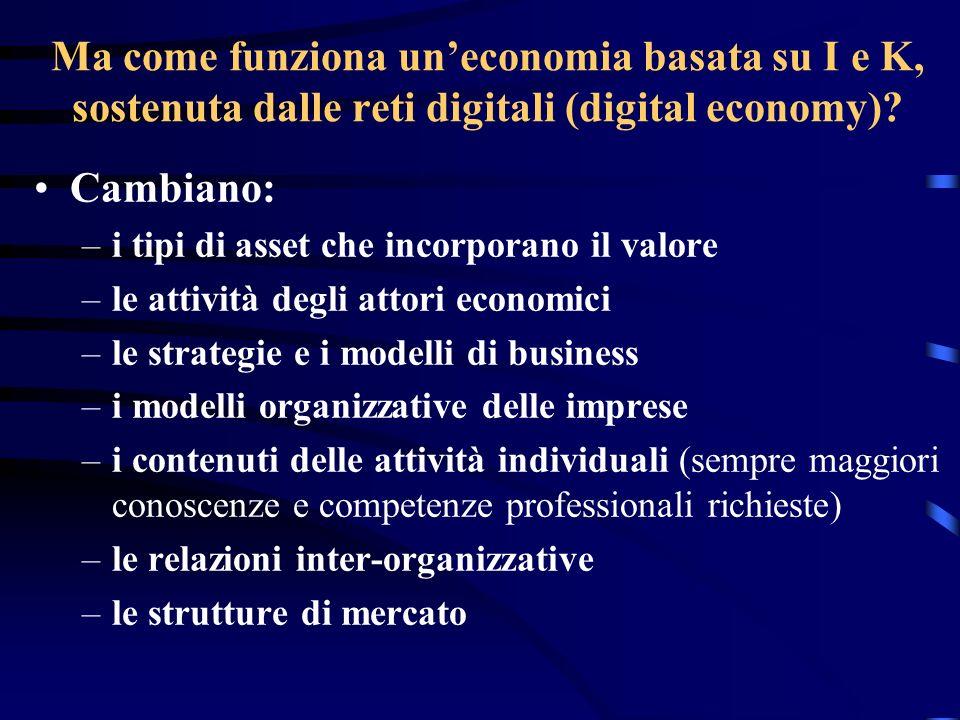 Ma come funziona uneconomia basata su I e K, sostenuta dalle reti digitali (digital economy)? Cambiano: –i tipi di asset che incorporano il valore –le